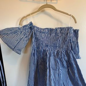 Fashion Nova Dresses - Fashion Nova Blue Striped Off Shoulder Dress